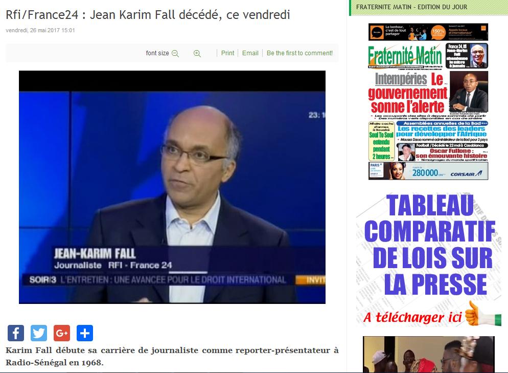 Décès de JKF : Capture d'écran du site ivoirien Fraternité Matin